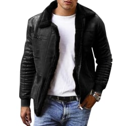 Men's lapel thick jacket men's retro lapel leather jacket Black M
