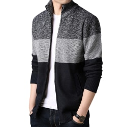 Men's Led Full Zip Color Striped Knit Cardigan Dark gray 2XL