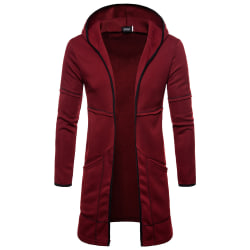 Men's long cardigan lightweight hooded sweater with pockets Red wine L