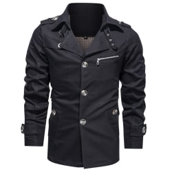 Men's mid-length lapel jacket jacket Winter coat jacket suit Black XL