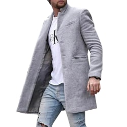 Men's mid-length trench coat single-breasted button coat Gray M