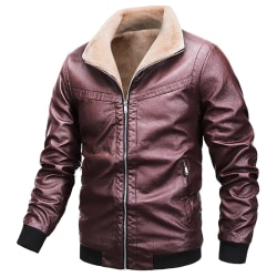 Men's motorcycle jacket plus fleece jacketMotorcycle Jacket Red wine L