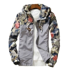Men's printed jacket waterproof ski jacket keeps warm in winter Gray 3XL