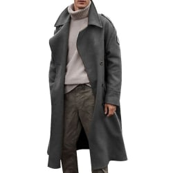 Men's quality mid-high collar trench coat pea coat warm jacket Gray L