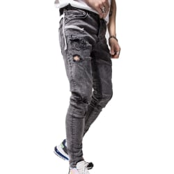 Men's Ripped Patch Pocket Webbing Jeans L