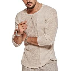 Men's round neck openwork sweater Casual knitted sweater Shirt Khaki XL
