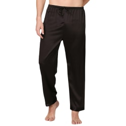 Herrpyjamasbyxor för män Underdelar Nattkläder Nattkläder Byxor Black 2XL