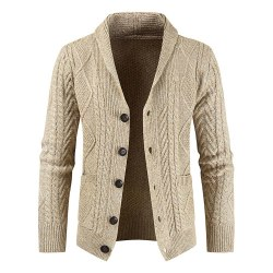 Men's single-breasted button chain knit cardigan sweater coat Cream color M