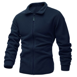 Men's solid color knitted cardigan full zip up jacket sweater Navy blue 3XL