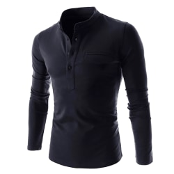 Men's solid color stand collar polo shirt long sleeves Dark blue L