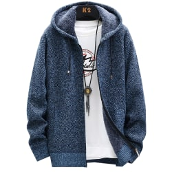 Men's solid color sweater coat with zipper hat sweater coat Blue 2XL