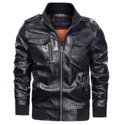 Men's stand-up collar motorcycle jacket winter long sleeve coat Black L