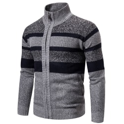 Men's Strap Collar Full Zip Color Striped Knit Cardigan Light grey L