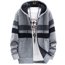 Men's Striped Hooded Jacket Knit Front Cardigan with Zip Light grey XL