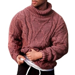 Men's turtleneck sweater Fashion winter autumn casual pullover Light green XL