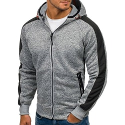 Men's winter color block full zipper jacket, winter fleece Light gray with navy blue 2XL