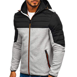 Men's winter jacket thickened hooded zipper coat trench coat Gray 3XL