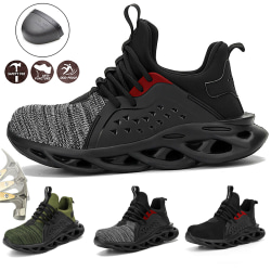 Men Safety Shoes Breathable Work Sneakers Grey 46