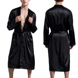 Men Sexy Waist Belt Long Sleeve Soft Robe Pajamas Black XL