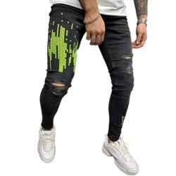 Herr Skinny Denim Jeans Ripped Slim Fit Pants Frayed Byxa