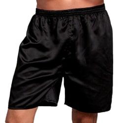 Men Sleep Shorts Stain Elastic Pure Color Pants Black L