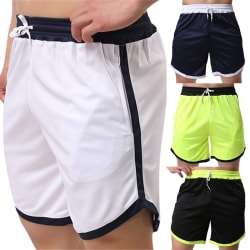 Men Sports Beach Color Block Swim Shorts Navy Blue 3XL