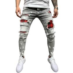 Män Stretch Ripped Printed Jeans Byxor Underdelar Slim Fit Byxa