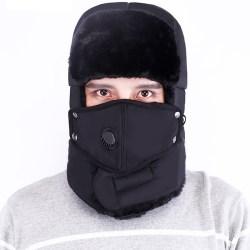 Herr Trapper Aviator Hat Winter Warm med Mask Earflap Cap Black