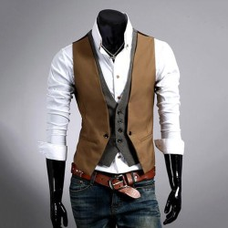 Retro Men Waistcoat Formal Vest Slim Fit Business Jacket Brown 3XL