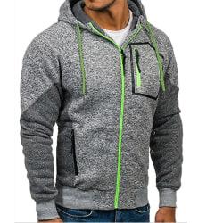Män Vinter Hoodie Sweatshirt Sport Jogging Joggers Coat Light Grey 3XL