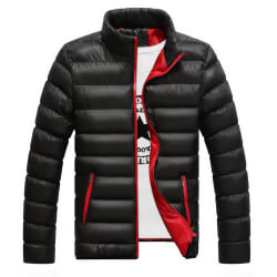 Män Vinter Warm Pad Bubble Coat Puffer Jacka Casual Ytterkläder Black XL