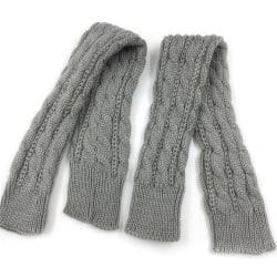 Men Women Knit Sleeve Gloves Wrist Arm Warmer Fingerless Mitten Light grey
