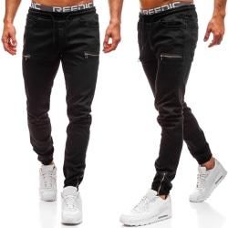 Men Zipper Pockets Drawstring Jeans Black M