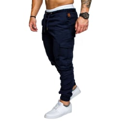 Mens Cargo Works Elasticated Joggers Pants Trousers Dark Cyan 2XL
