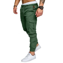 Mens Cargo Works Elasticated Joggers Pants Byxor Grön L
