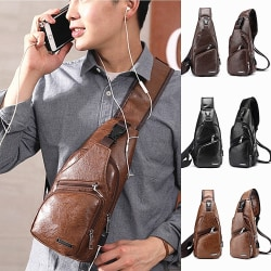 Mens Crossbody Sling Bag  with USB Charging lightbrown