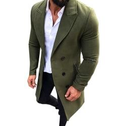 Herr dubbelknäppt solid mid-long rock casual ytterkläder Green L