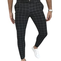 Mens Pants Plaid Zip Up Slimming Casual Trousers Black L