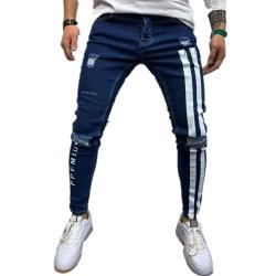 Herr Rippade Skinny Jeans Casual Work Slacks Denim Print Byxor
