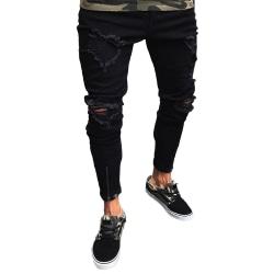 Mens rippade stretch dragkedja jeans sport casual skinny byxor