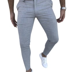 Mens Slimming Pants Cargo Stretch Trousers Light Gray M