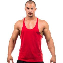 Mens Sports Tops Casual Singlets Vest Workout T-shirt Röd M