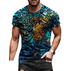 Mens Sommarferie Casual Toppar Geometri Kortärmad T-shirt