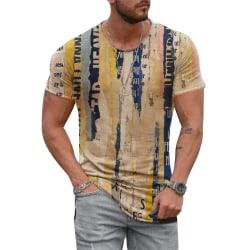 Herr Vintage kortärmad T-shirtblus Sommar Casual Toppar # 3
