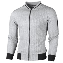 Mens Winter Autumn Zip Up Jumper Cardigans Jackets Coat Top Light Grey M