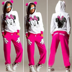 Mickey Mouse Women Cute Tracksuit Sets Minne Cartoon Suits Rose Red XL