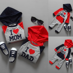 Nyfödd Baby Hooded Rompers Boys Girls I red 0-6m