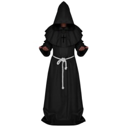 Party Anime Cosplay Costumes Sets Medieval Monk Clothes Long Black XL