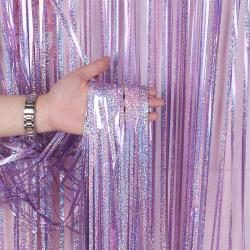 Party Glitter Aluminium Film Gardin Födelsedagsfest Dekor Pink 1 * 1m