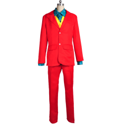 Party Men Anime Cosplay Costumes Joker Clown Funny Dress Up Red L